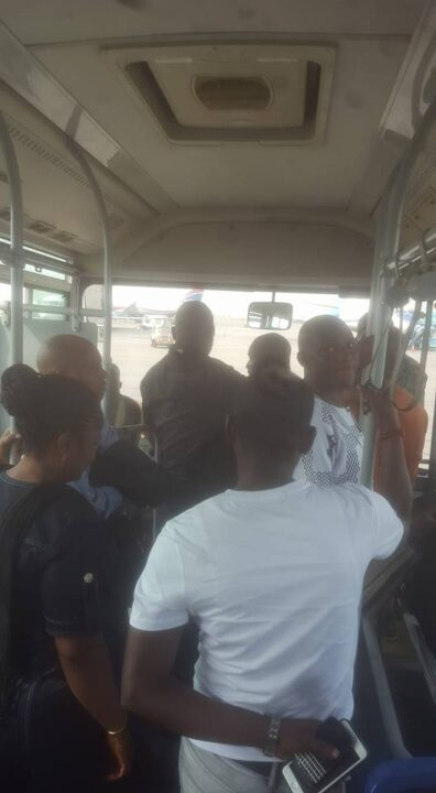 Photo of Fayose Flies Economy Class To Lagos, Spotted In General Airport Bus