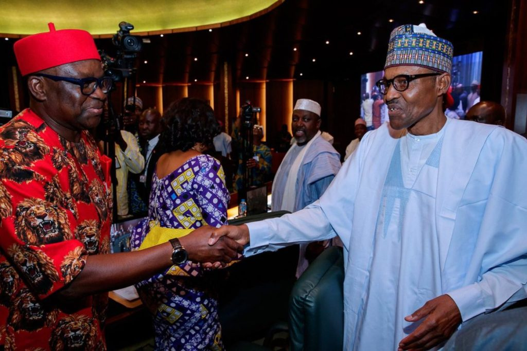 Photo of Buhari In Handshake With Fayose, Obasanjo At Meeting Of National Council Of State