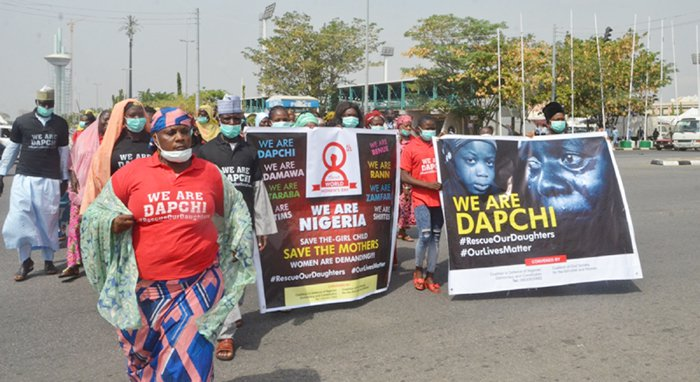 Photo of Abducted Dapchi schoolgirls' parents protest in Abuja