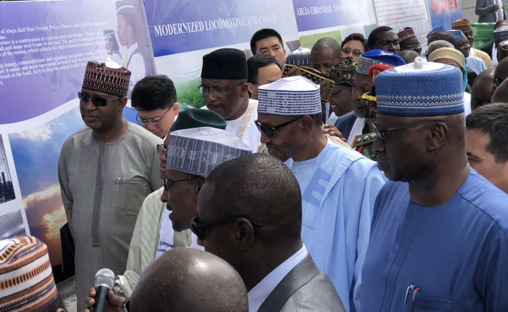 Photo of Power Cut Disrupts Buhari's Speech At Abuja Railway Commissioning