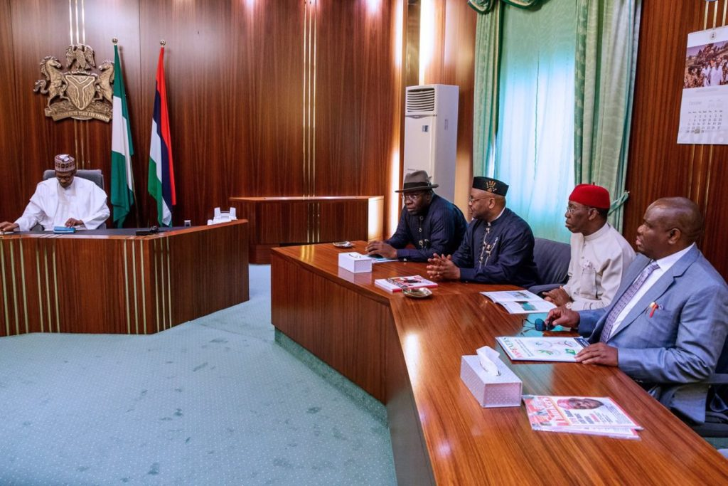 Photo of Buhari Meets 4 PDP Governors In Aso Rock
