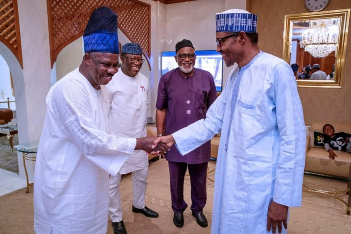 Photo of APC Crisis: Don't Leave APC, Buhari Begs Akeredolu, Amosun