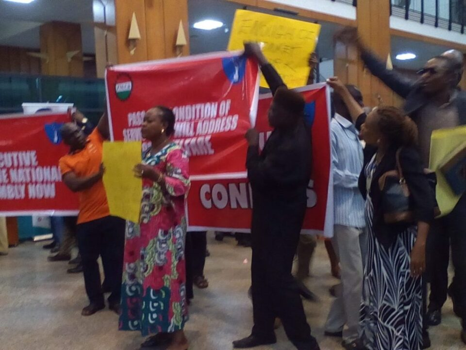 Photo of National Assembly staff protest over unpaid salaries, allowances