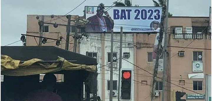 "Photo of Tinubu Campaign Signboard Was Spotted ""Vote BAT 2023''"