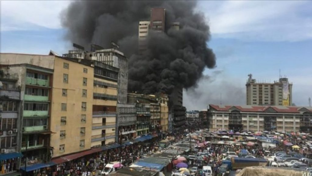 Photo of Tragedy, Policeman killed as burning building collapses in Lagos