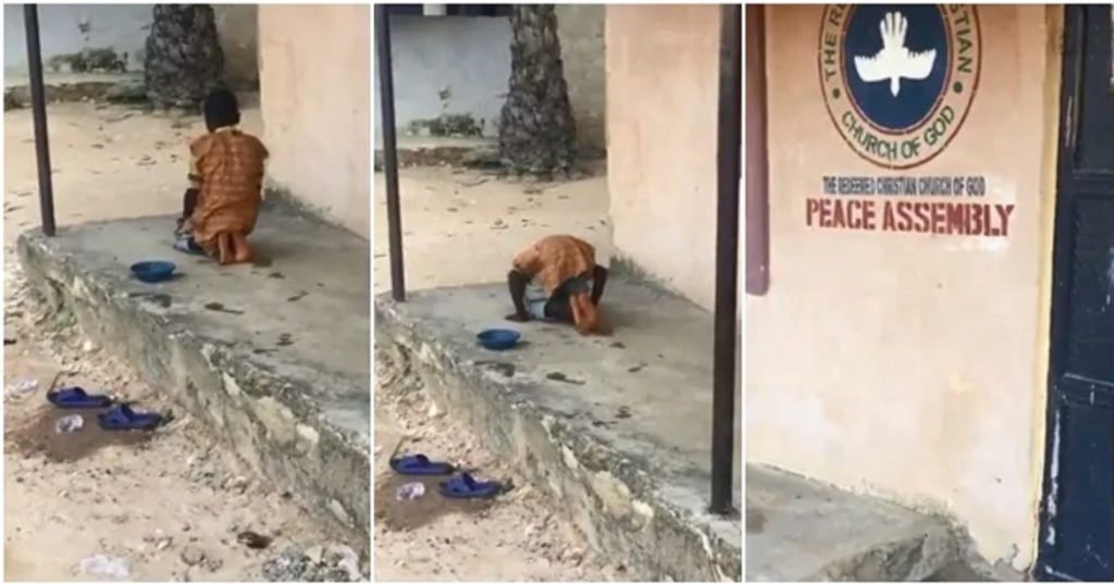 Photo of VIDEO: Nigerians react as young Muslim boy spotted praying in front of a church