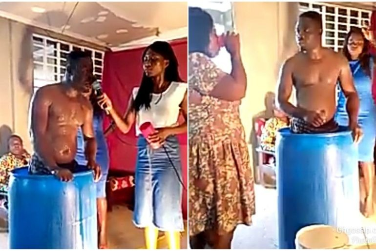 Photo of VIDEO: Pastor bathes in church, compulsory church members to drink used bath water