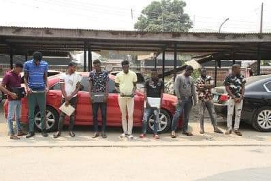 Photo of PHOTOS: EFCC arrests 9 'Yahoo boys', seizes exotic cars in Lagos